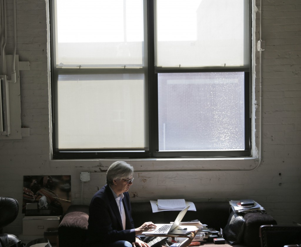 In this Wednesday, Aug. 8, 2018, photo Dash Design's founder David Ashen works in his office in New York. When five out of 22 staffers left Dash Desig...