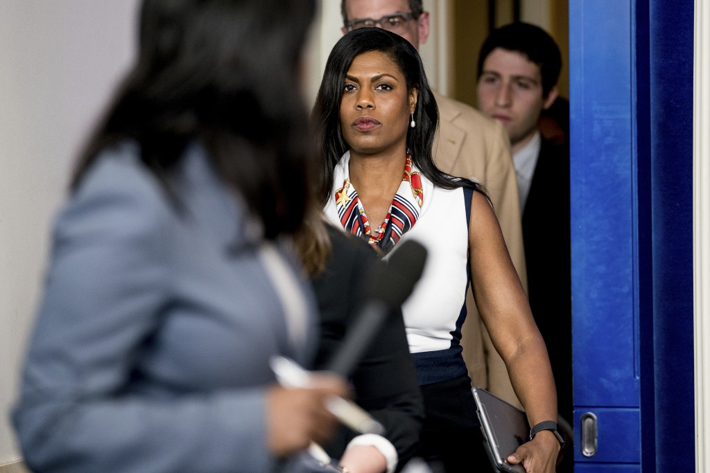 FILE - In this May 30, 2017 file photo, White House Director of communications for the Office of Public Liaison Omarosa Manigault Newman arrives for t...