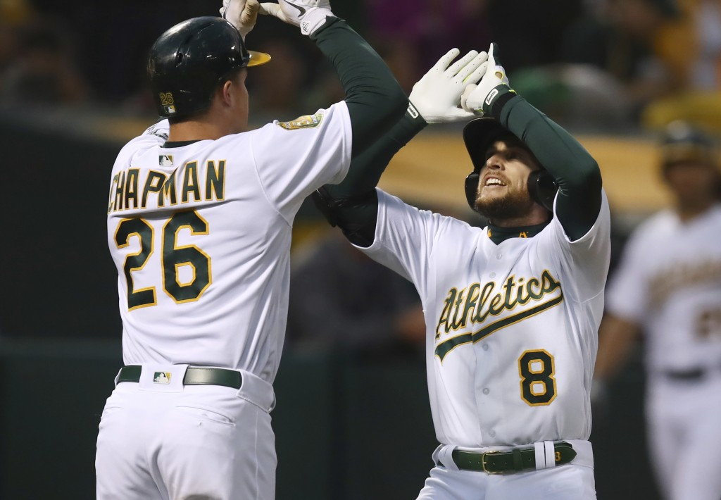Oakland Athletics' Jed Lowrie, right, celebrates with Matt Chapman (26) after hitting a two-run home run off Seattle Mariners' Felix Hernandez in the ...