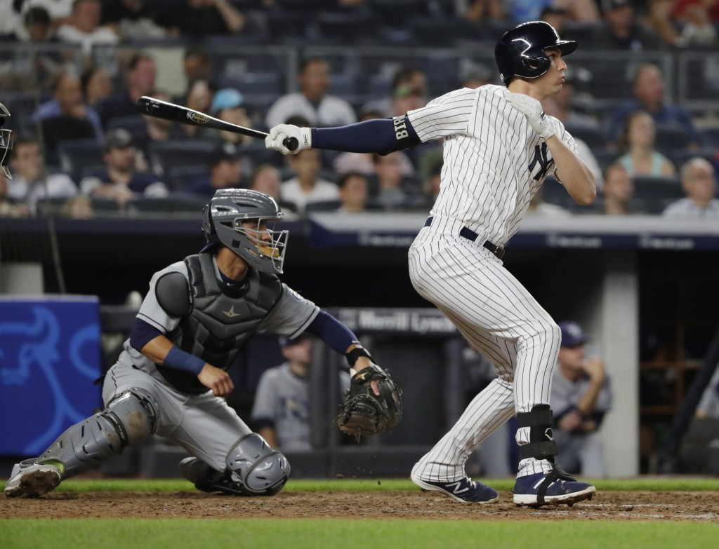 New York Yankees' Greg Bird hits an RBI double during the eighth inning of a baseball game against the Tampa Bay Rays Tuesday, Aug. 14, 2018, in New Y...