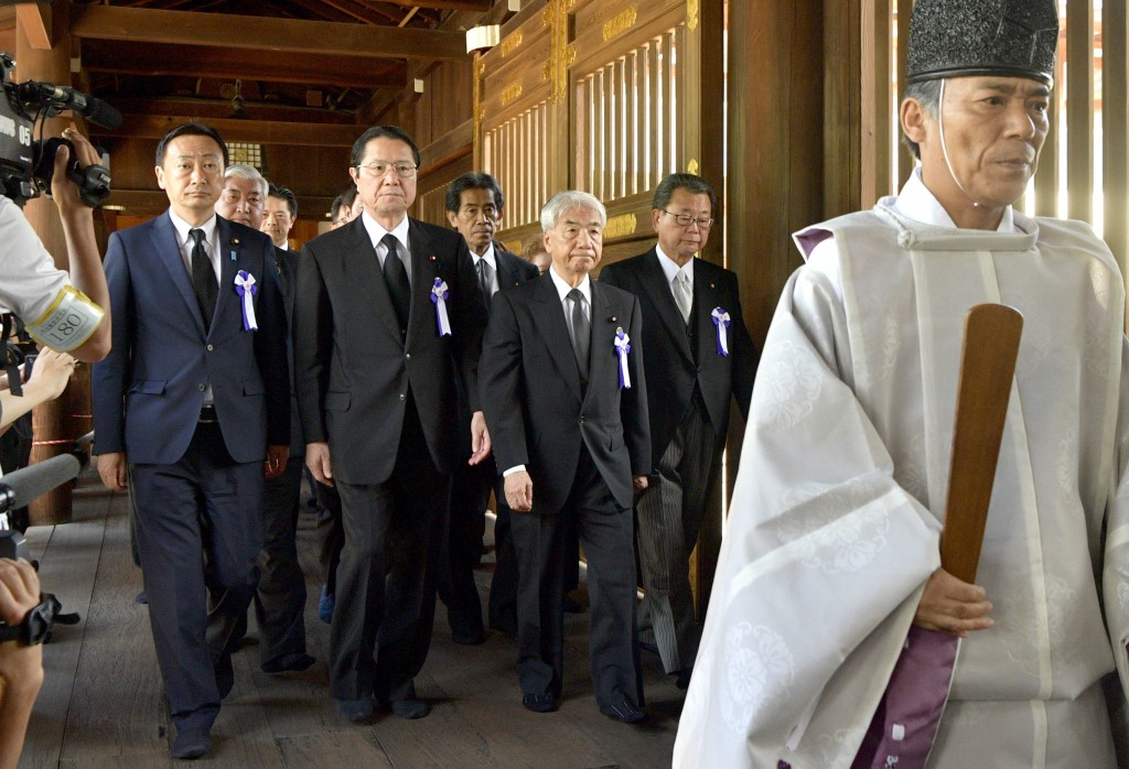Japanese lawmakers visit the Yasukuni Shrine in Tokyo to offer prayers to the war dead, Wednesday, Aug. 15, 2018. Japan marked the 73rd anniversary of...