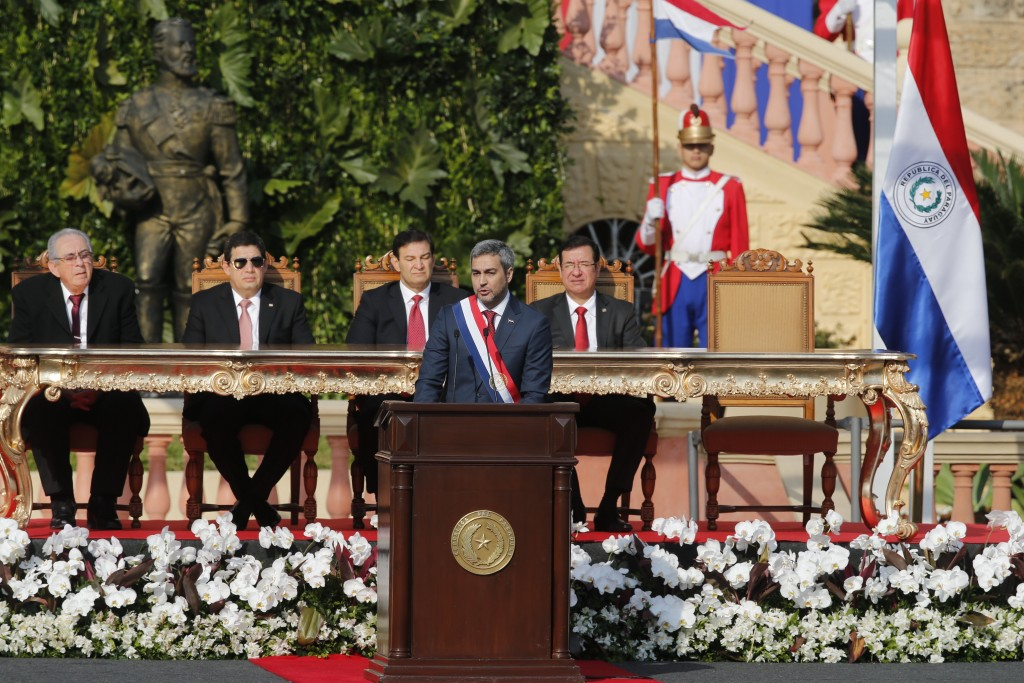 """Paraguay's new President Mario Abdo Benitez makes his speech during his inauguration ceremony at """"Lopez Palace"""" in Asuncion, Paraguay, Wednesday, Aug...."""