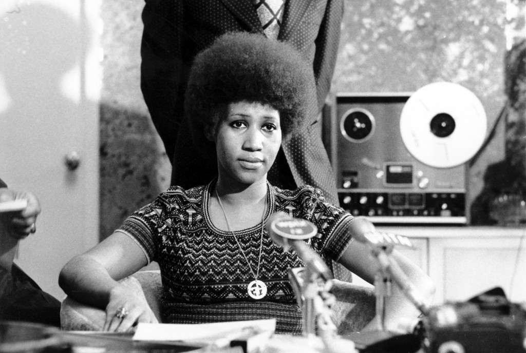 FILE - In this March 26, 1973 file photo, soul singer Aretha Franklin appears at a news conference. Franklin died Thursday, Aug. 16, 2018 at her home ...