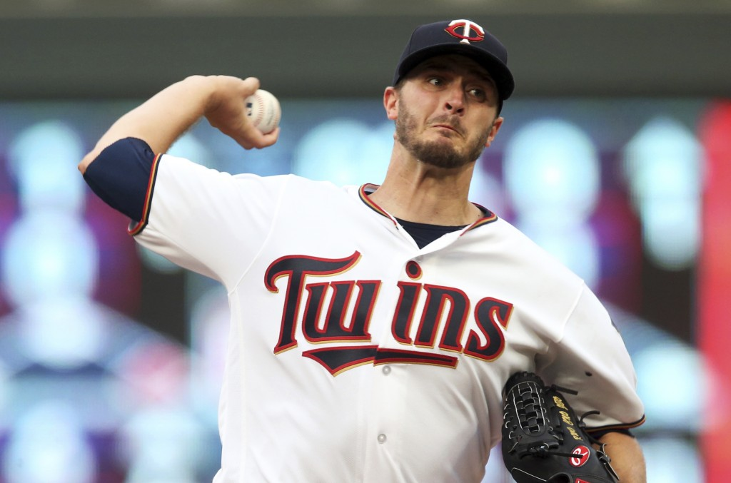 Minnesota Twins pitcher Jake Odorizzi throws against the Pittsburgh Pirates in the first inning of a baseball game Tuesday, Aug. 14, 2018, in Minneapo...