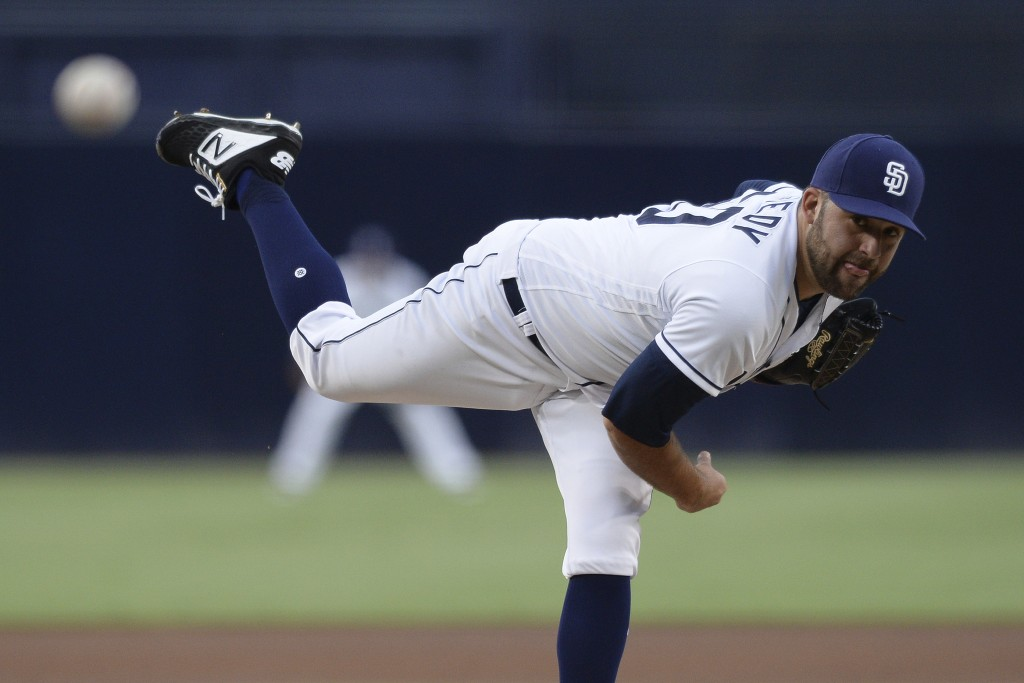 San Diego Padres starting pitcher Brett Kennedy works against a Los Angeles Angels batter during the first inning of a baseball game Tuesday, Aug. 14,...