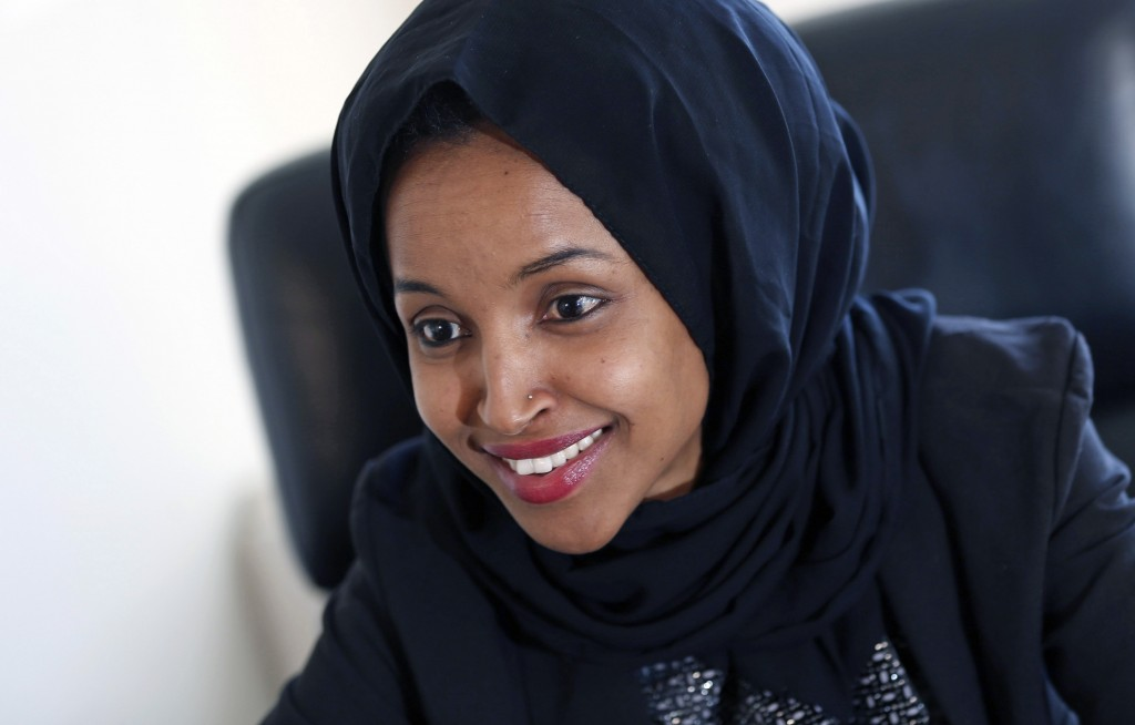 FILE - In this Jan. 5, 2017, file photo, state Rep. Ilhan Omar is interviewed in her office two days after the 2017 Legislature convened in St. Paul, ...