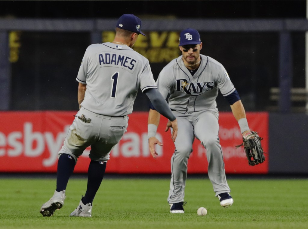 Tampa Bay Rays shortstop Willy Adames (1) and a teammate watch a ball hit by New York Yankees' Aaron Hicks for an RBI single land between them during ...