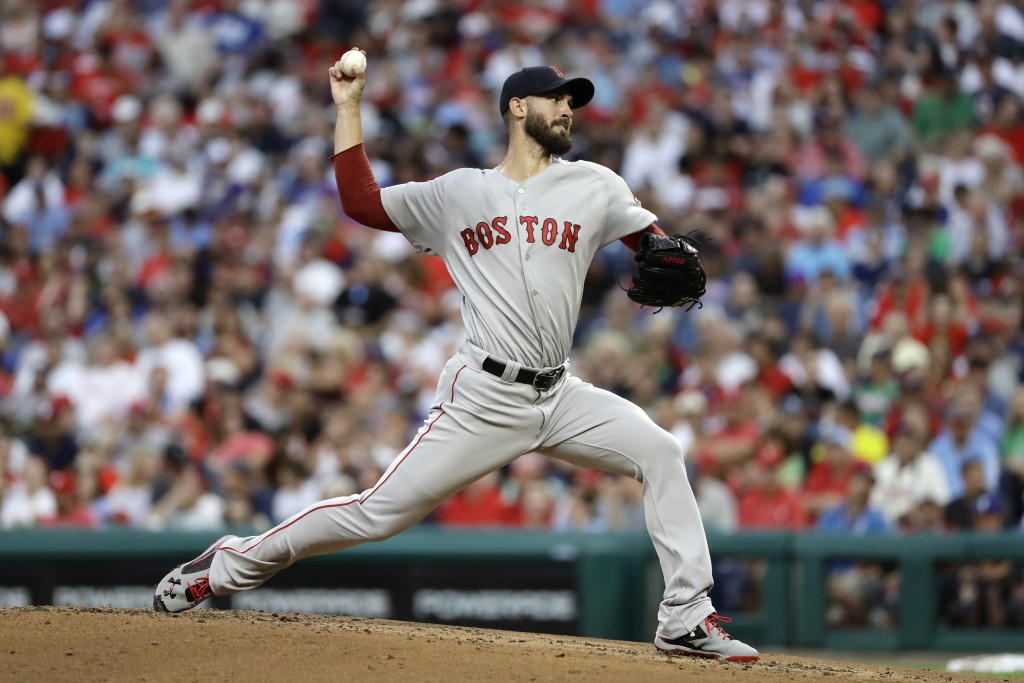 Boston Red Sox's Rick Porcello pitches during the second inning of a baseball game against the Philadelphia Phillies, Tuesday, Aug. 14, 2018, in Phila...