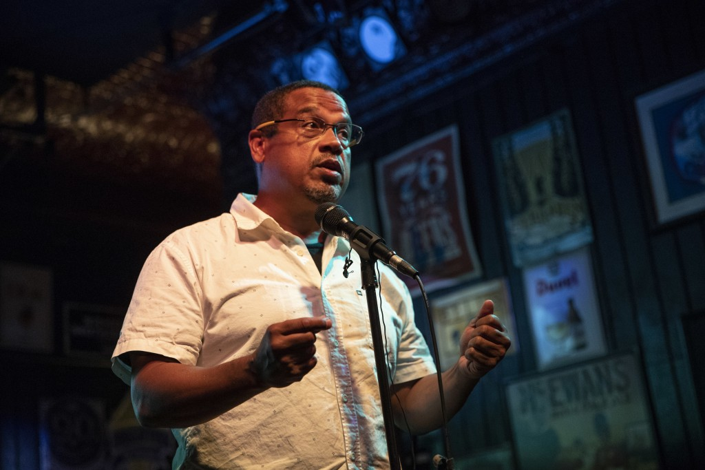 Rep. Keith Ellison speaks to supporters after winning the Democratic nomination for Attorney General during his primary party at Nomad World Pub, Tues...