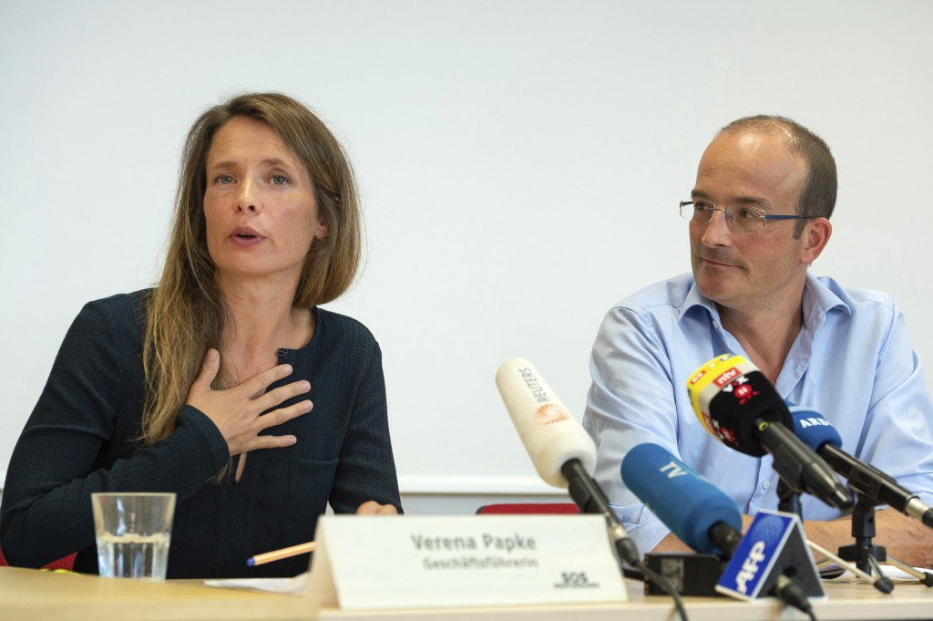 Verena Papke, CEO of SOS Mediterranee, and Florian Westphal, Managing Director of the German section MSF, speak at a press conference on the situation...