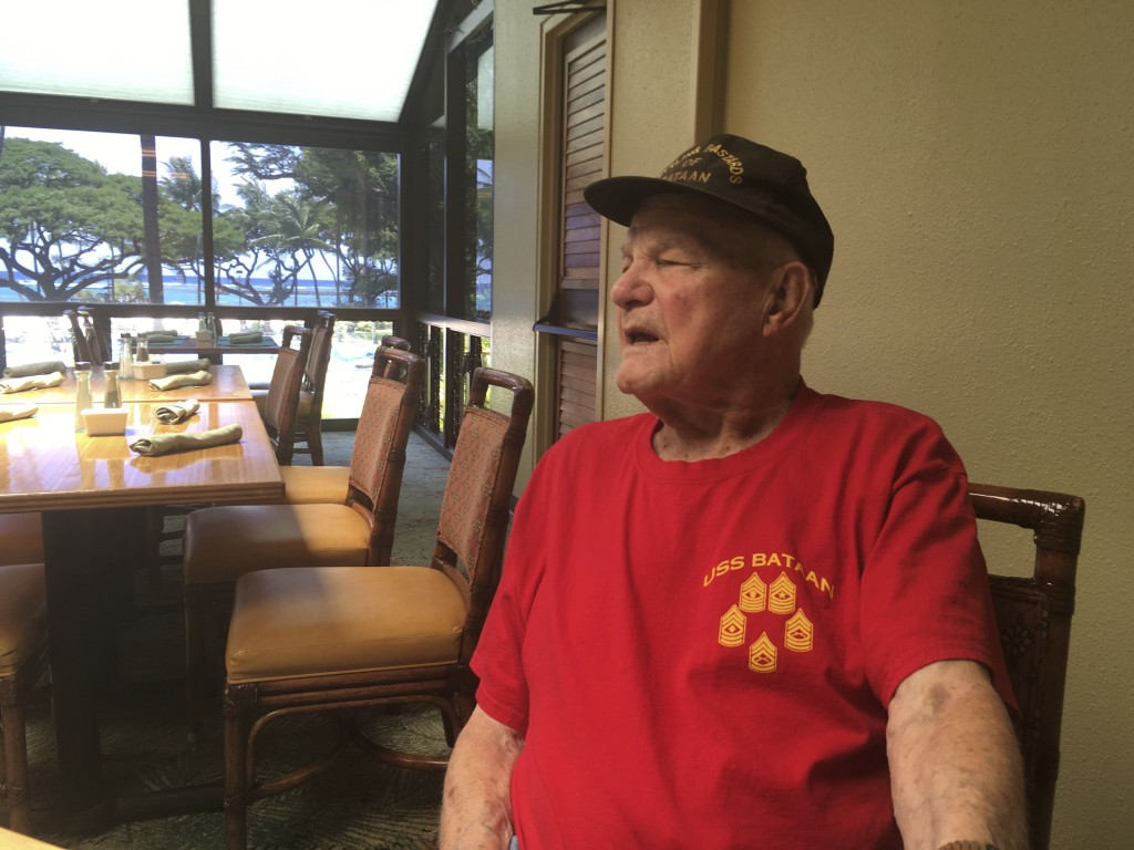 In this Monday, Aug. 13, 2018, photo, Daniel Crowley, a 96-year-old U.S. Army Air Corps veteran from World War II who was held by Japan as a prisoner ...