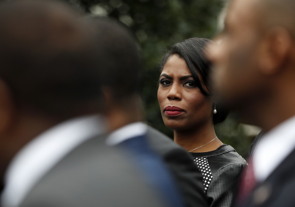 FILE - In this Feb. 28, 2017 file photo, White House Director of communications for the Office of Public Liaison Omarosa Manigault Newman stands with ...