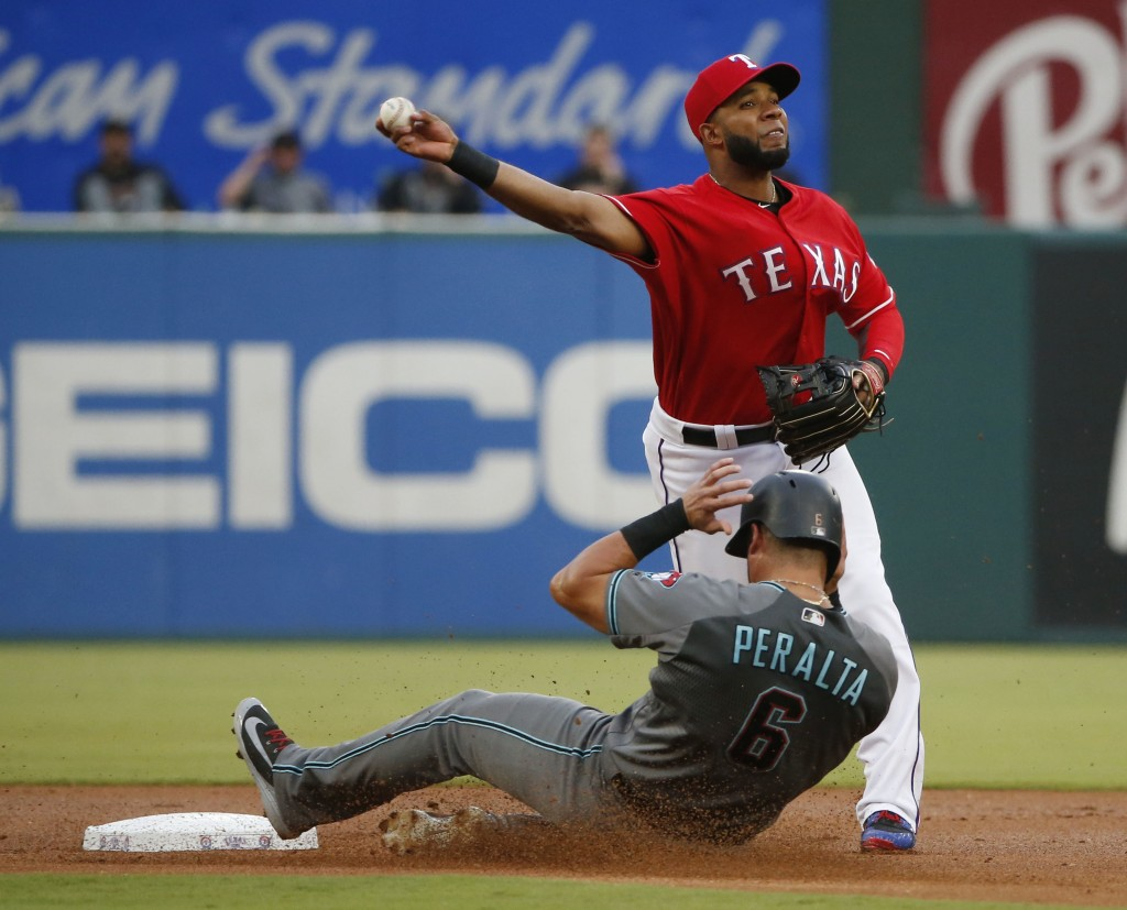 Arizona Diamondbacks' David Peralta (6) is forced out by Texas Rangers shortstop Elvis Andrus (1) for a double play that ended the first inning of a b...
