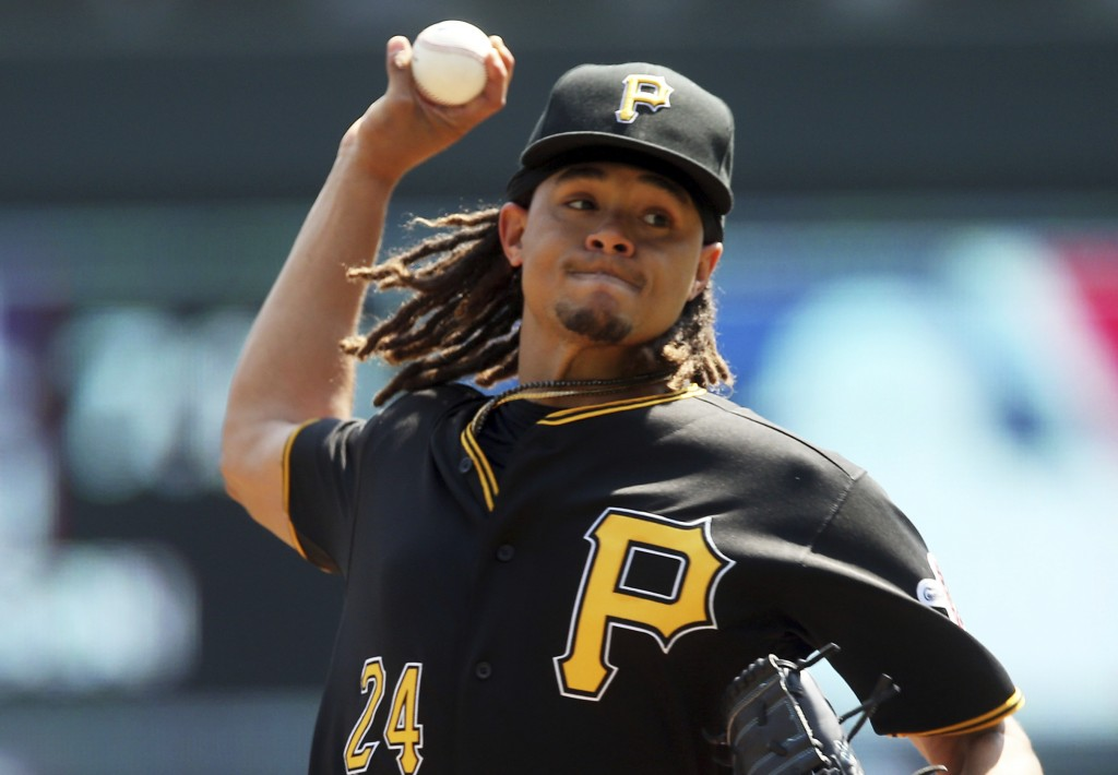 Pittsburgh Pirates pitcher Chris Archer throws against the Minnesota Twins in the first inning of a baseball game Wednesday, Aug. 15, 2018, in Minneap...