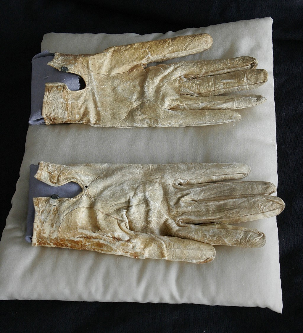 FILE - In this June 14, 2007 file photo, FILE - In this June 14, 2007 file photo, Abraham Lincoln's bloodstained gloves he carried on the night of his...
