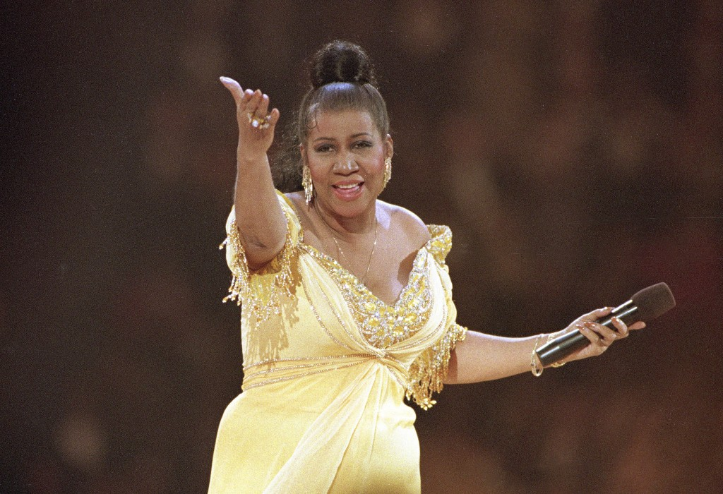 FILE - In this Jan. 19, 1993 file photo, singer Aretha Franklin performs at the inaugural gala for President Bill Clinton in Washington.  Franklin die...