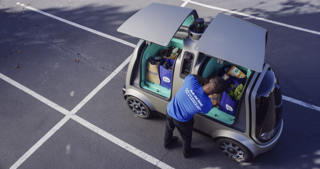 This undated image provided by The Kroger Co. shows an autonomous vehicle called the R1. Kroger will begin testing grocery deliveries using driverless...