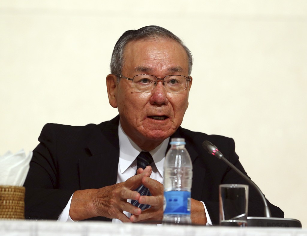 Former Japanese Ambassador to the U.N. Kenzo Oshima speaks to journalists during a press briefing in Naypyitaw, Myanmar Thursday, Aug. 16, 2018. Gover...