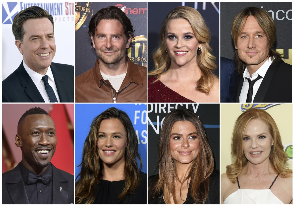 This combination photo shows, top row from left, Ed helms, Bradley Cooper, Reese Witherspoon and Keith Urban, and bottom row from left, Mahershala Ali...
