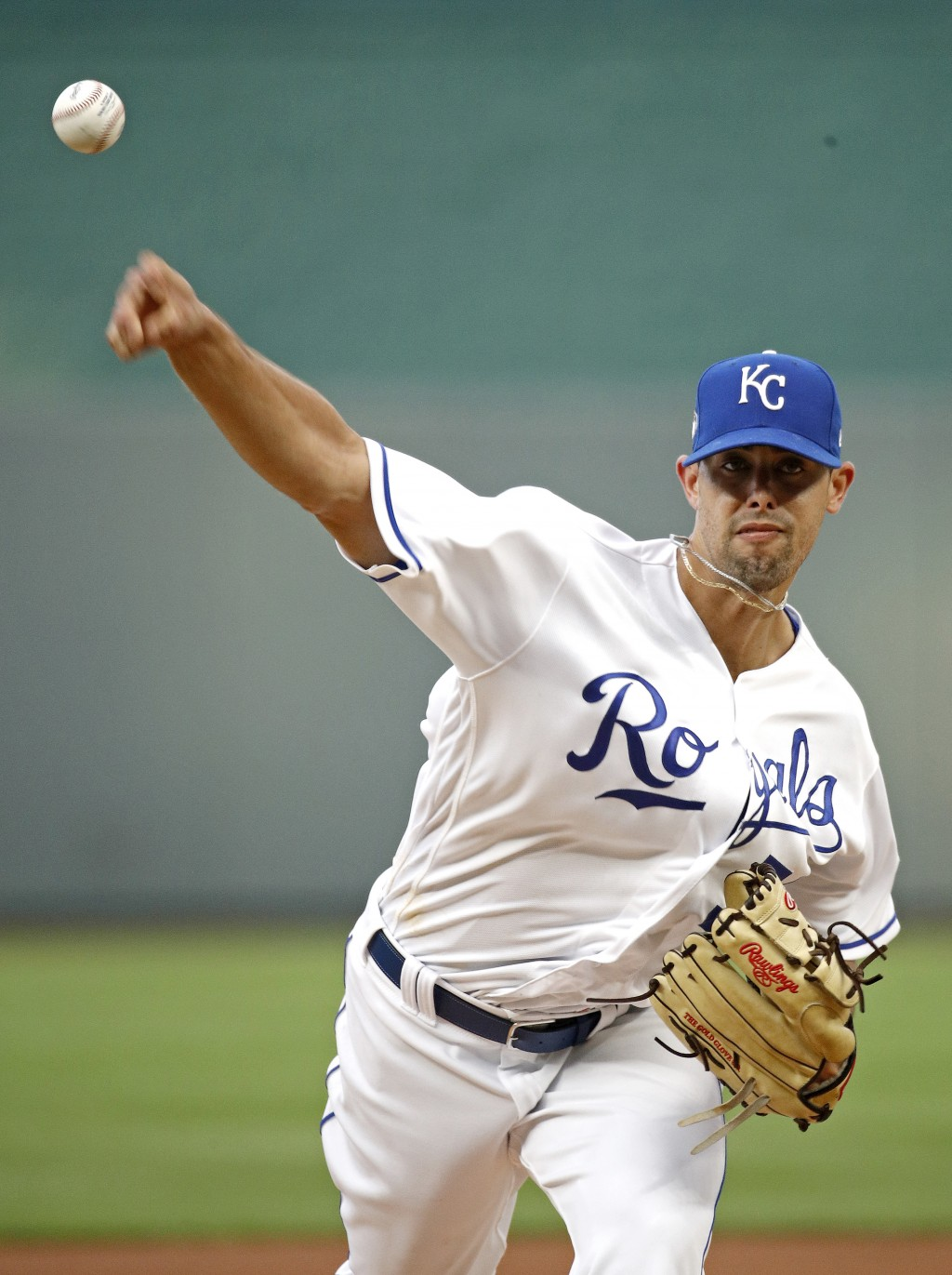 Kansas City Royals starting pitcher Jorge Lopez throws during the first inning of the team's baseball game against the Toronto Blue Jays on Wednesday,...