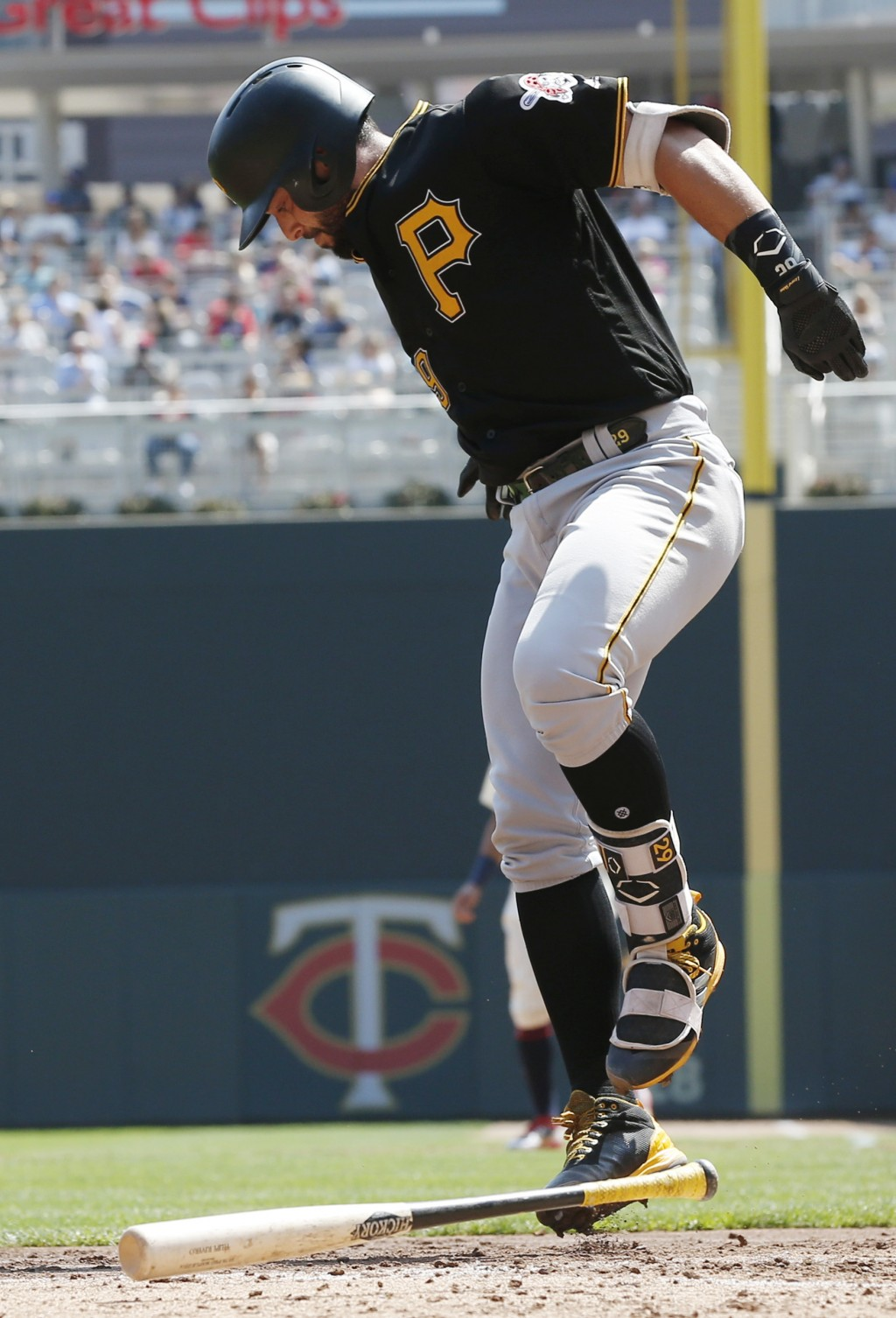 Pittsburgh Pirates' Francisco Cervelli reacts after fouling a ball off his leg on a pitch by Minnesota Twins pitcher Jose Berrios in the third inning ...