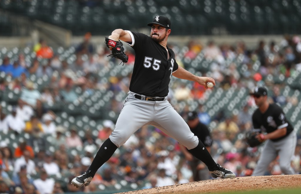 Chicago White Sox pitcher Carlos Rodon throws against the Detroit Tigers in the second inning of a baseball game in Detroit, Wednesday, Aug. 15, 2018....