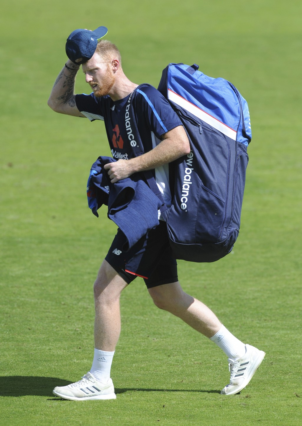 England's Ben Stokes arrives for a nets session ahead of the third Test Match between England and India at Trent Bridge in Nottingham, England, Thursd...