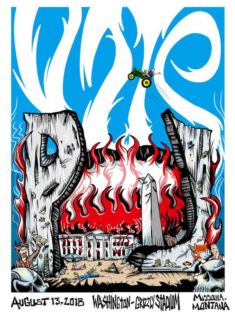This image taken from the Twitter account of Pearl Jam shows the official poster from the band's concert on Monday, Aug. 13, 2018 in Missoula, Mont. R...