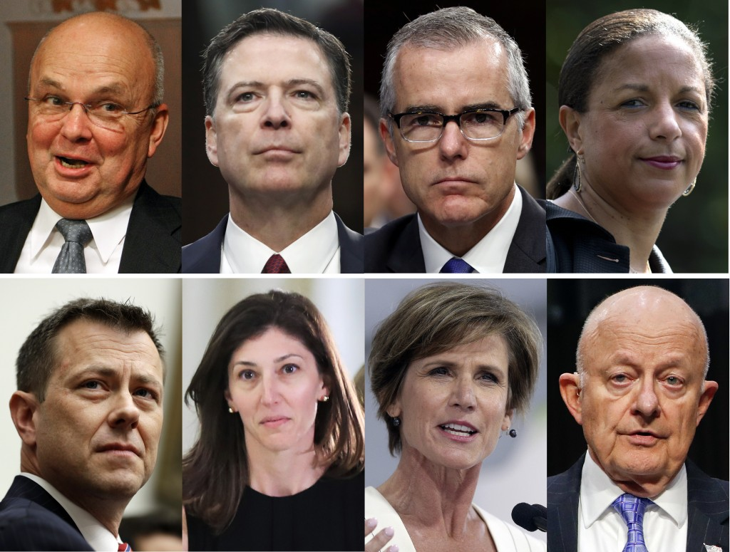 ADDS IDENTITY OF FORMER FBI LAWYER LISA PAGE  - These file photos, top row from left are former CIA Director Michael Hayden, former FBI Director James...