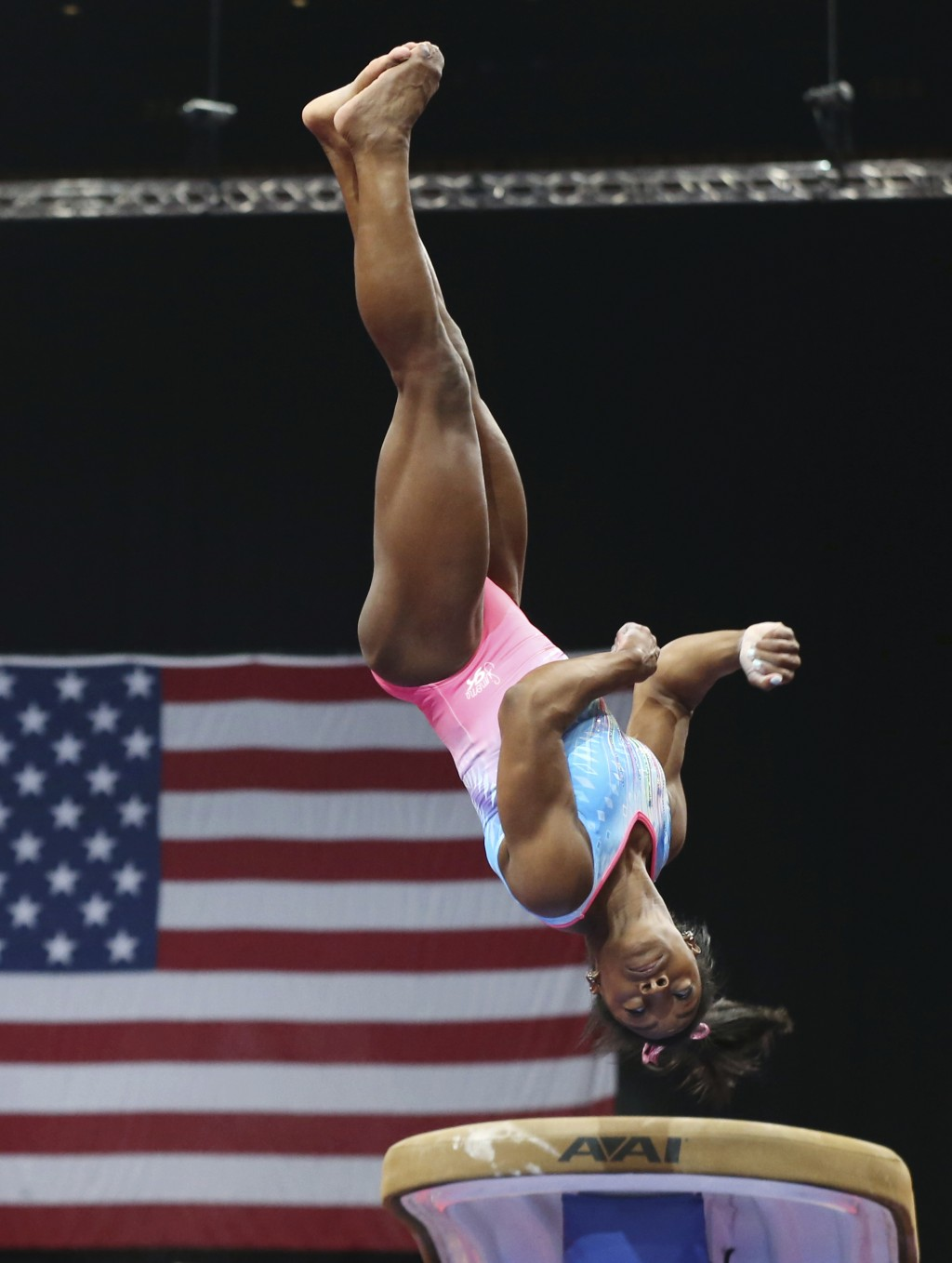 Simone Biles practices on the vault during a training session at the U.S. Gymnastics Championships, Wednesday, Aug. 15, 2018, in Boston. (AP Photo/Eli...