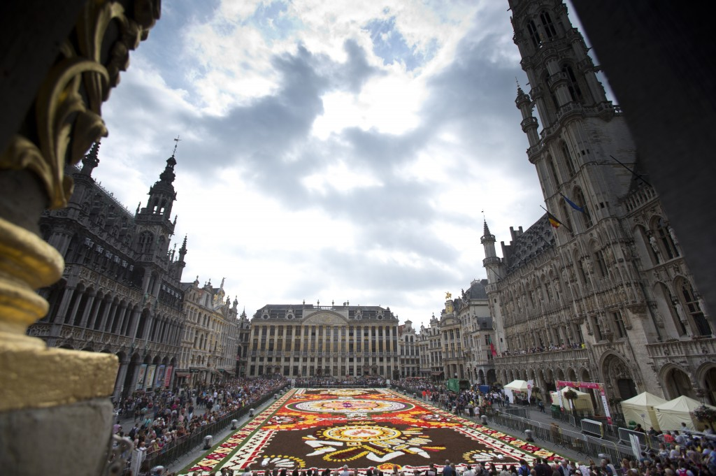 The Brussels Flower Carpet, laid out in its entirety, on the Grand Place in Brussels, Thursday, Aug. 16, 2018. More than 500,000 flowers were used to ...