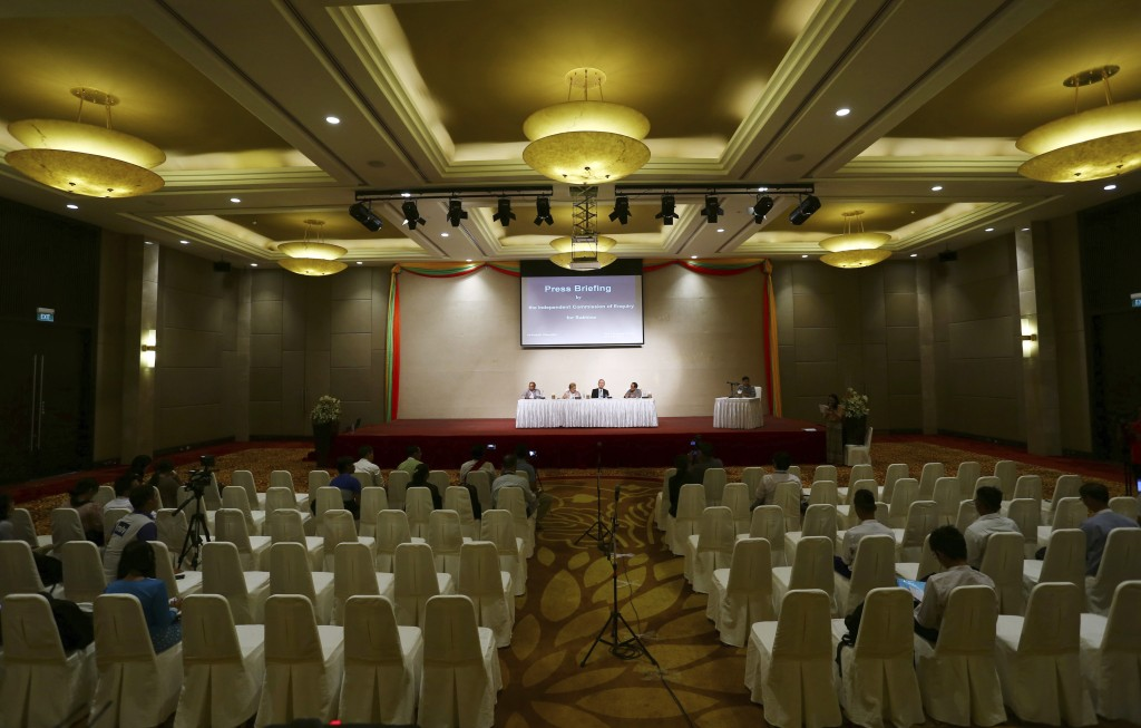 Government-appointed Rakhine panel tasked to investigate allegations of human rights abuses in Rakhine State hold a press briefing at a hotel in Naypy...