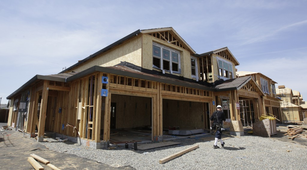 FILE- This May 4, 2018, file photo shows a house under construction in Roseville, Calif. On Thursday, Aug. 16, the Commerce Department reports on U.S....