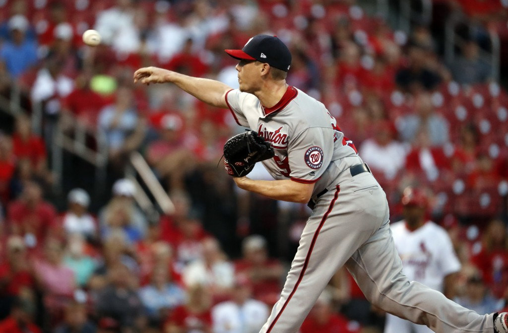 Washington Nationals starting pitcher Jeremy Hellickson throws during the first inning of the team's baseball game against the St. Louis Cardinals on ...