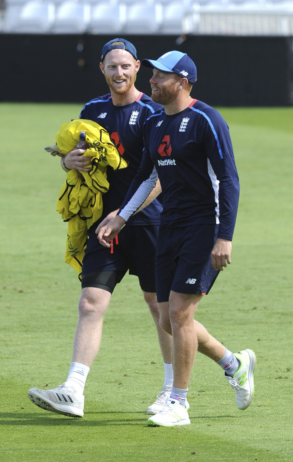 England's Ben Stokes, left, and England's Jonny Bairstow during a nets session ahead of the third Test Match between England and India at Trent Bridge...