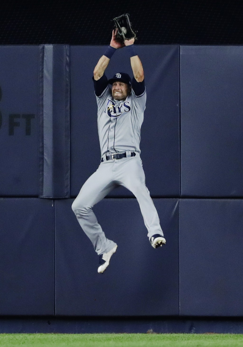 Tampa Bay Rays center fielder Kevin Kiermaier catches a ball hit by New York Yankees' Miguel Andujar for an out during the fourth inning of a baseball...
