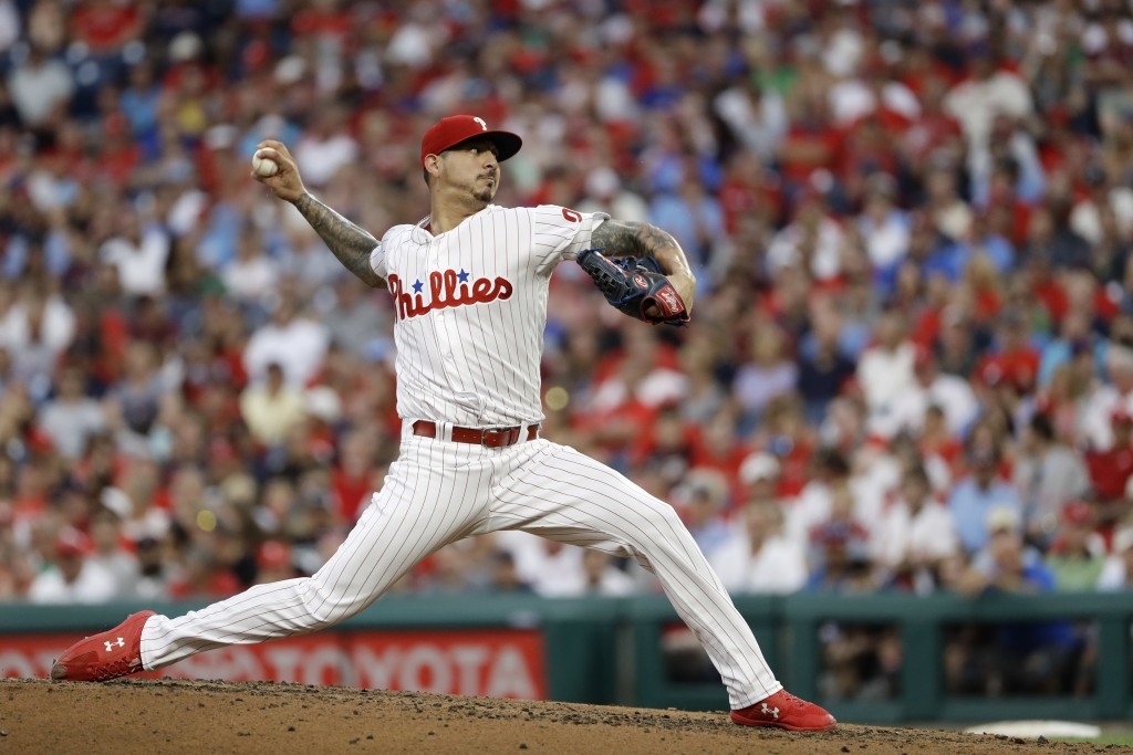 Philadelphia Phillies' Vince Velasquez pitches during the second inning of the team's baseball game against the Boston Red Sox, Wednesday, Aug. 15, 20...