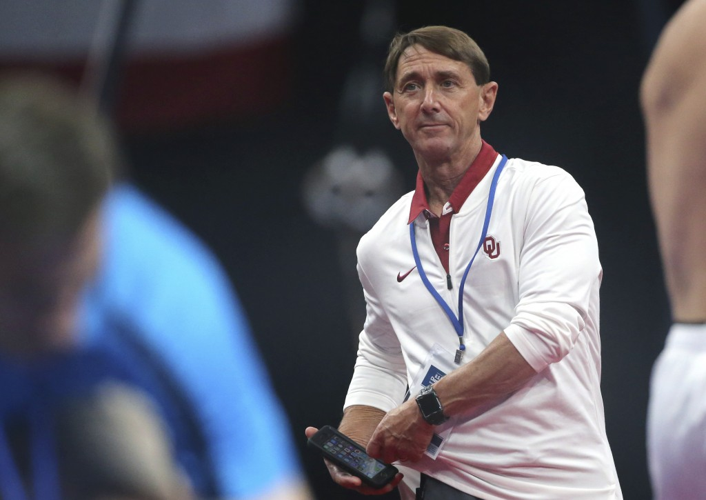 USA Gymnastics coach Mark Williams watches during a training session at the U.S. Gymnastics Championships, Wednesday, Aug. 15, 2018, in Boston. The pr...