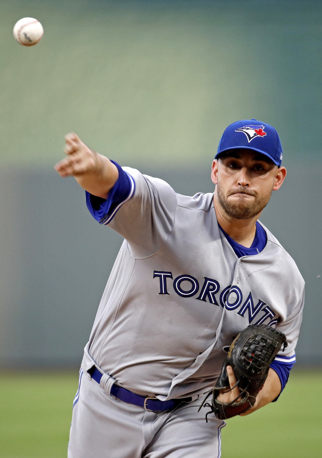 Toronto Blue Jays starting pitcher Marco Estrada throws during the first inning of the team's baseball game against the Kansas City Royals on Wednesda...