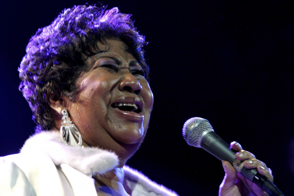 FILE - In this Nov. 21, 2008 file photo, Aretha Franklin performs at the House of Blues in Los Angeles.   Franklin died Thursday, Aug. 16, 2018 at her...