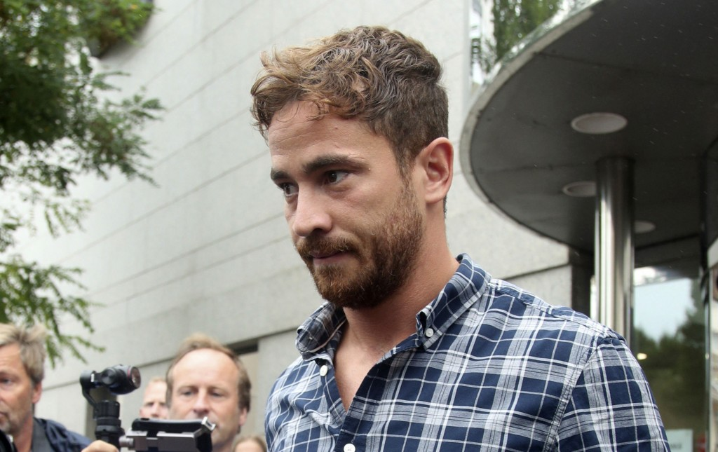 British rugby player Danny Cipriani leaves Jersey Magistrates' Court, Saint Helier, Jersey, one of the Channel Islands, on Thursday Aug. 16, 2018, whe...
