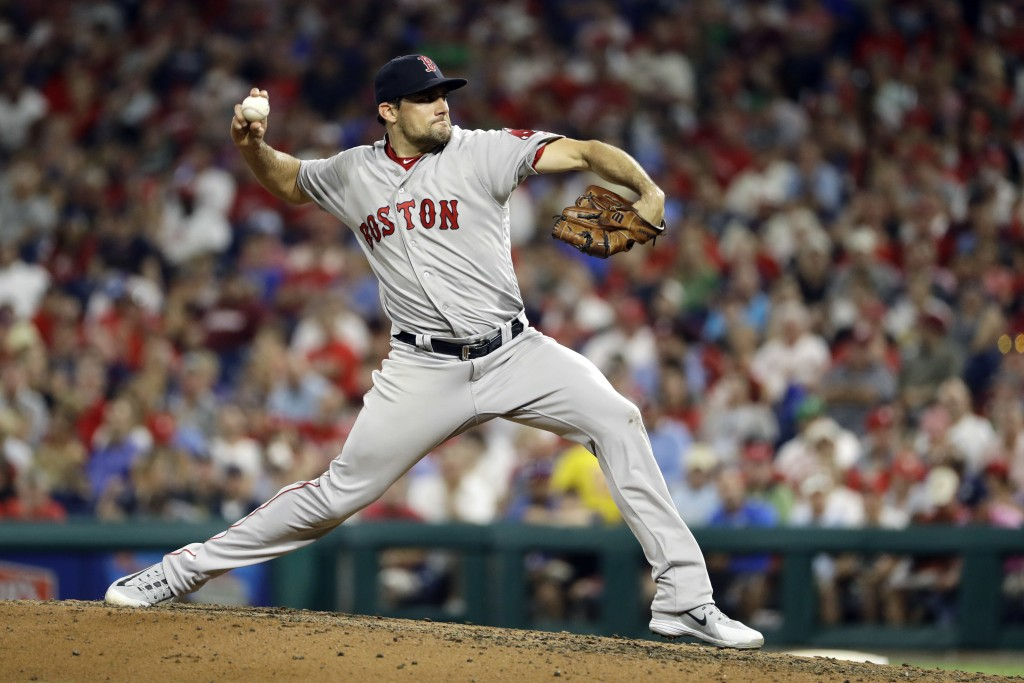 Boston Red Sox's Nathan Eovaldi pitches during the third inning of the team's baseball game against the Philadelphia Phillies, Wednesday, Aug. 15, 201...