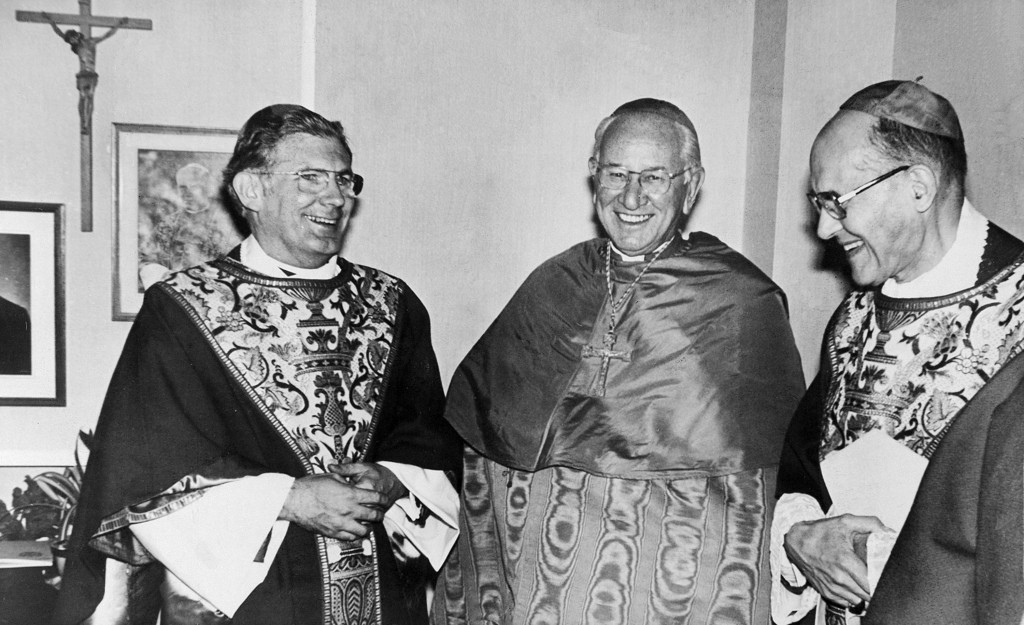 FILE - In a Sept. 21, 1979 file photo, the Most Rev. William H. Keeler, left, is shown prior to his ordination as auxiliary bishop of the Catholic Dio...