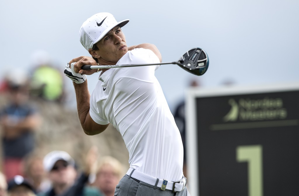 Denmark's Thorbjorn Olesen on the first tee during the first round of Nordea Masters at Hills Golf Club, Gothenburg, Sweden, Thursday Aug. 16, 2018. (...
