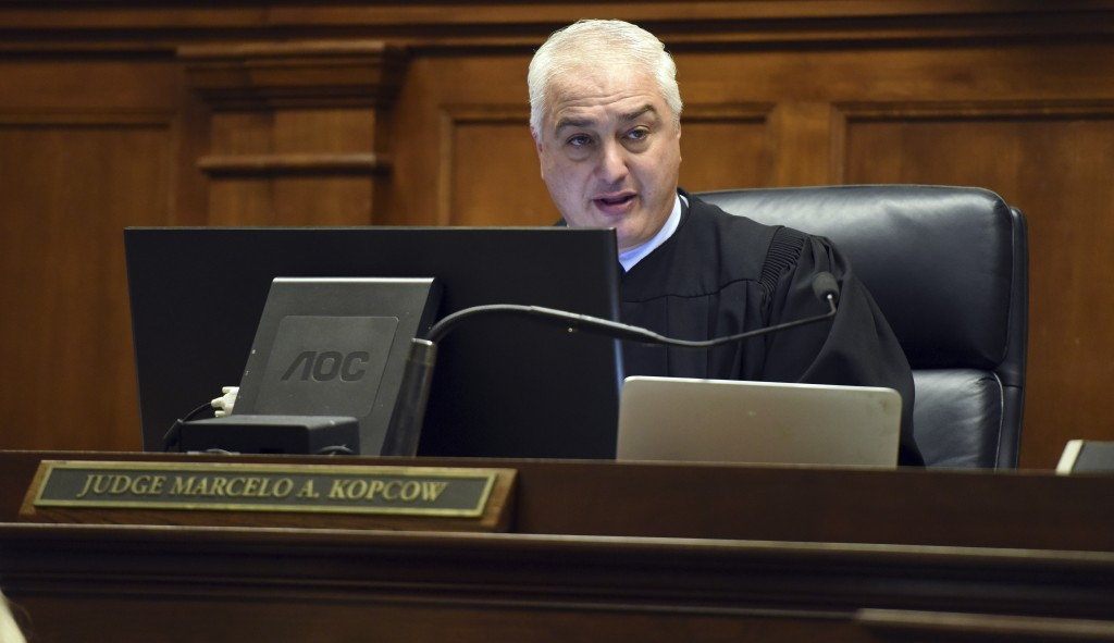 Judge Marcelo A. Kopcow speaks to the attorneys during the bond hearing for Christopher Watts at the Weld County Courthouse Thursday, Aug. 16, 2018, i...