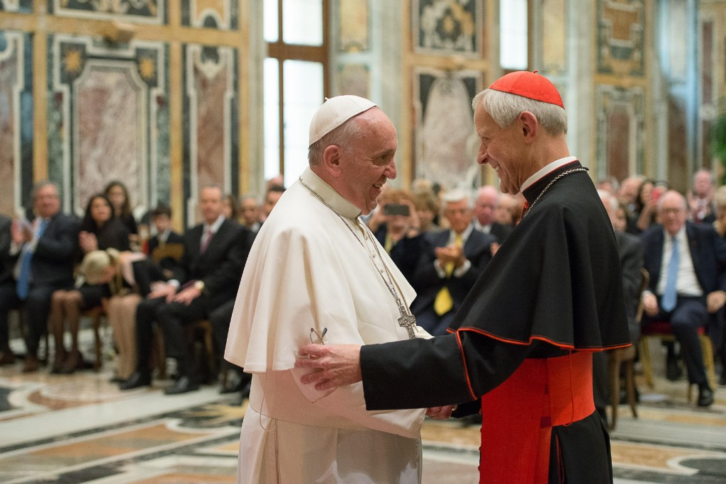 FILE - In this Wednesday, Oct. 20, 2010 file photo, Pope Francis, left, talks with Papal Foundation Chairman Cardinal Donald Wuerl, Archbishop of Wash...