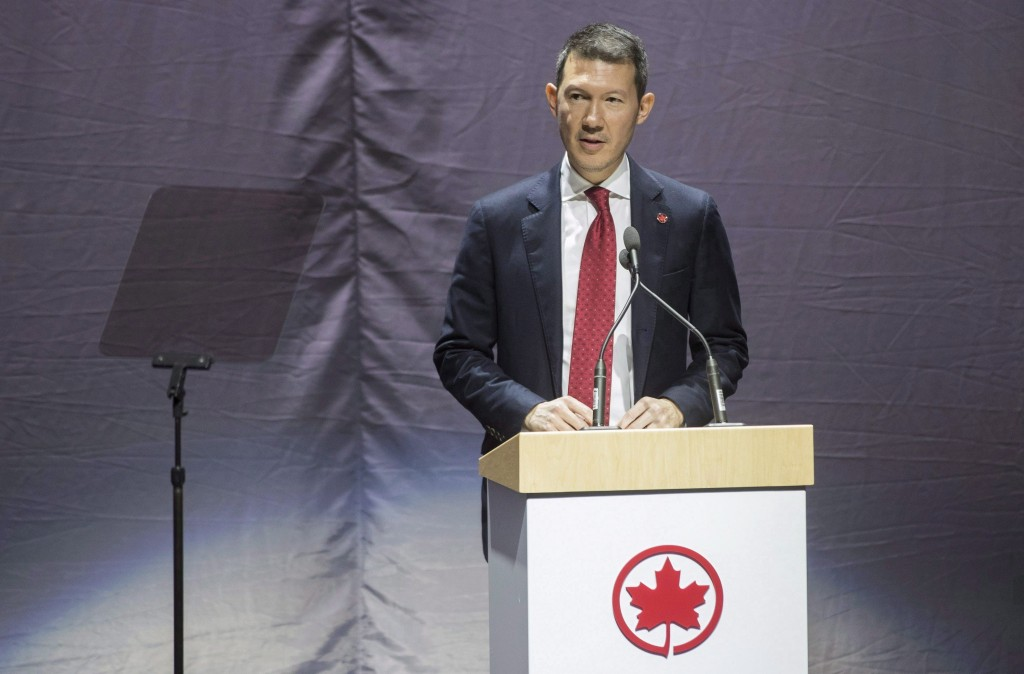 In this Feb. 9, 2017, photo Benjamin Smith, President, Passenger Airlines Air Canada, speaks before revealing the new Air Canada Boeing 787-8 Dreamlin...