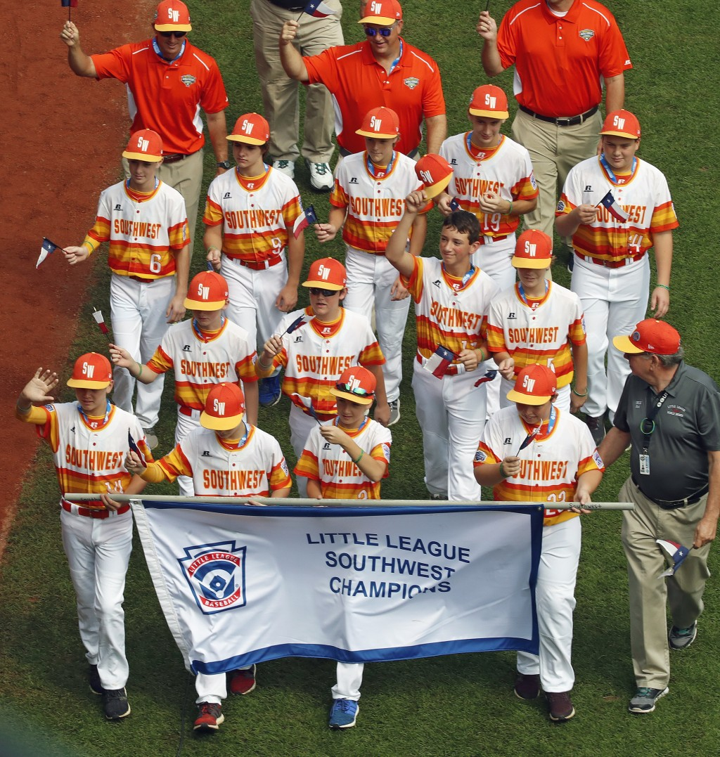 The Southwest Region Champion Little League team from Houston, Texas, participates in the opening ceremony of the 2018 Little League World Series base...