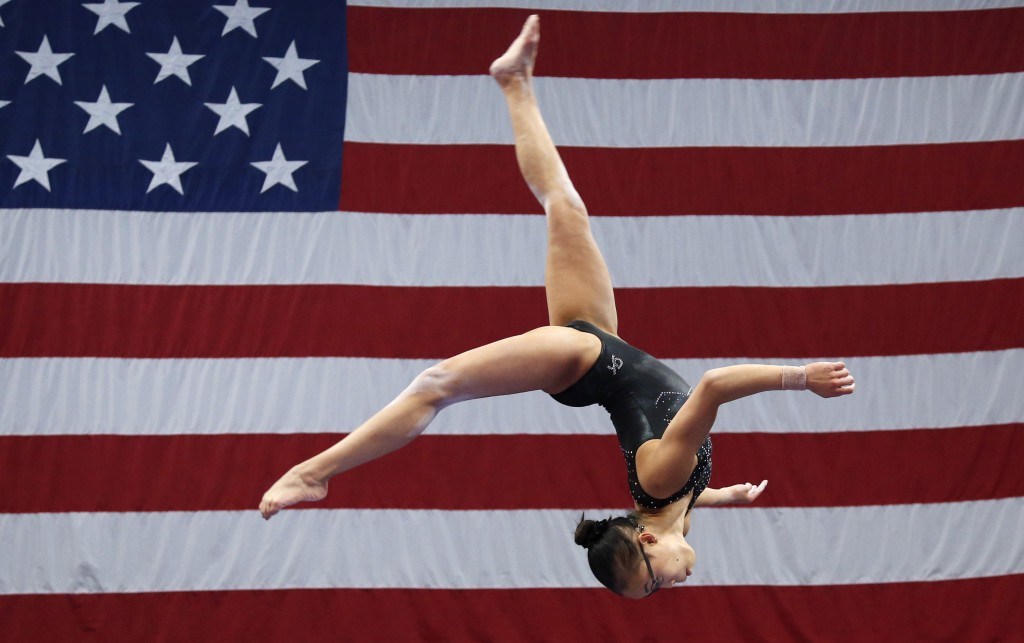 Morgan Hurd practices on the balance beam during a training session at the U.S. Gymnastics Championships, Wednesday, Aug. 15, 2018, in Boston. The man...