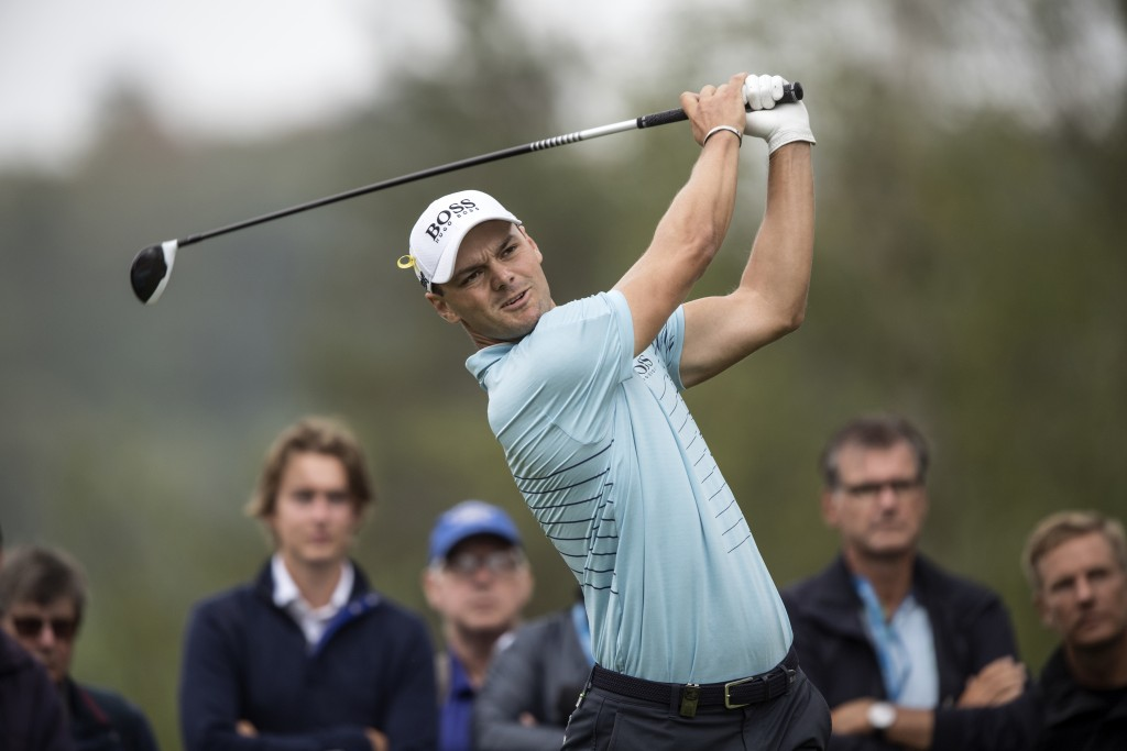 Germany's Martin Kaymer watches the flight of his ball on 12th tee, during the first round of the Nordea Masters at Hills Golf Club in Gothenburg, Swe...